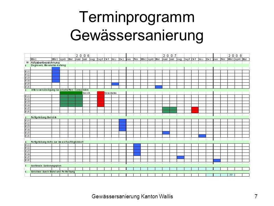 Gewässersanierung Kanton Wallis8 Vorstellung Diagnosen und Resultate durch Spezialbüros