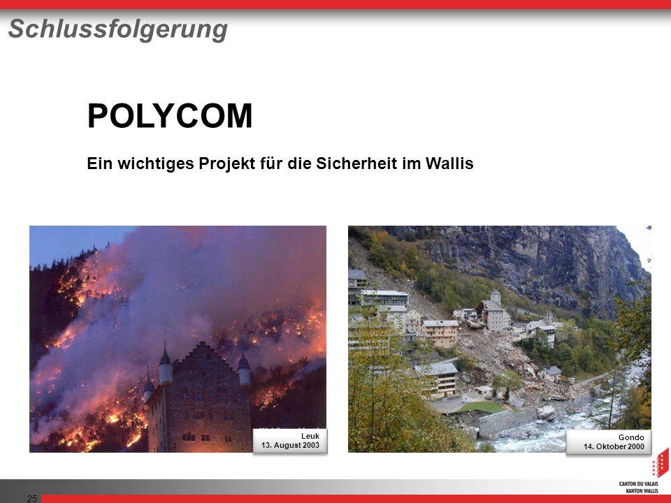 25 POLYCOM Ein wichtiges Projekt für die Sicherheit im Wallis Schlussfolgerung Gondo 14.