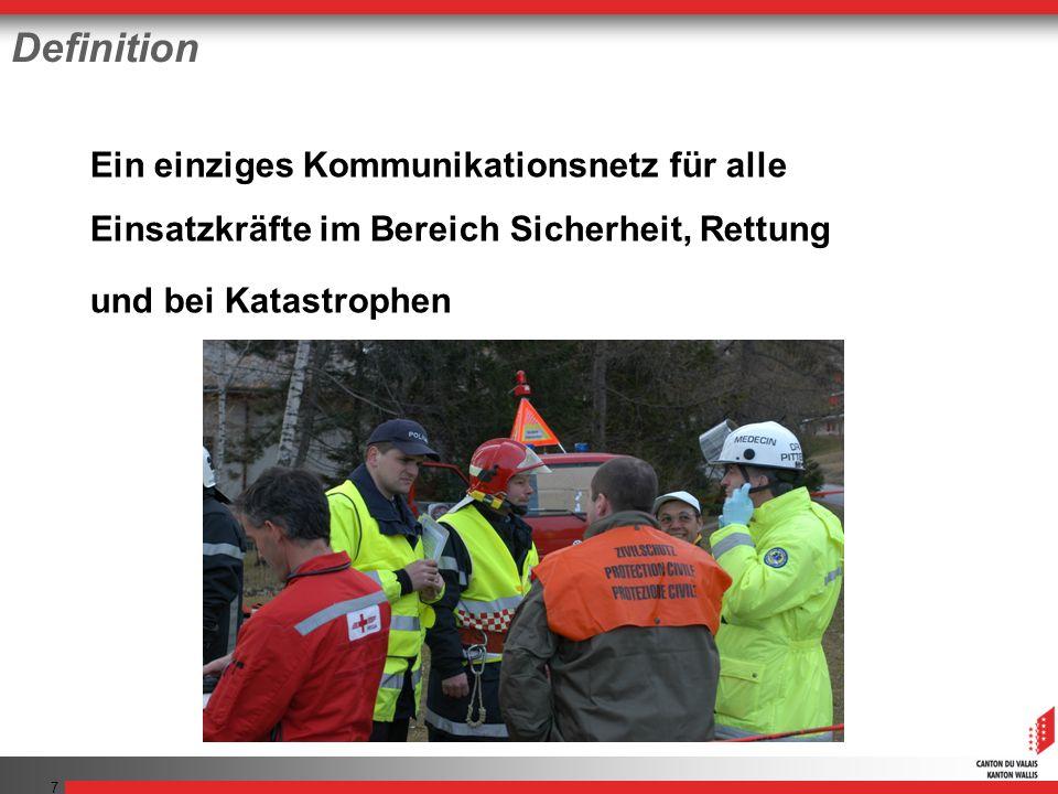 7 Definition Ein einziges Kommunikationsnetz für alle Einsatzkräfte im Bereich Sicherheit, Rettung und bei Katastrophen