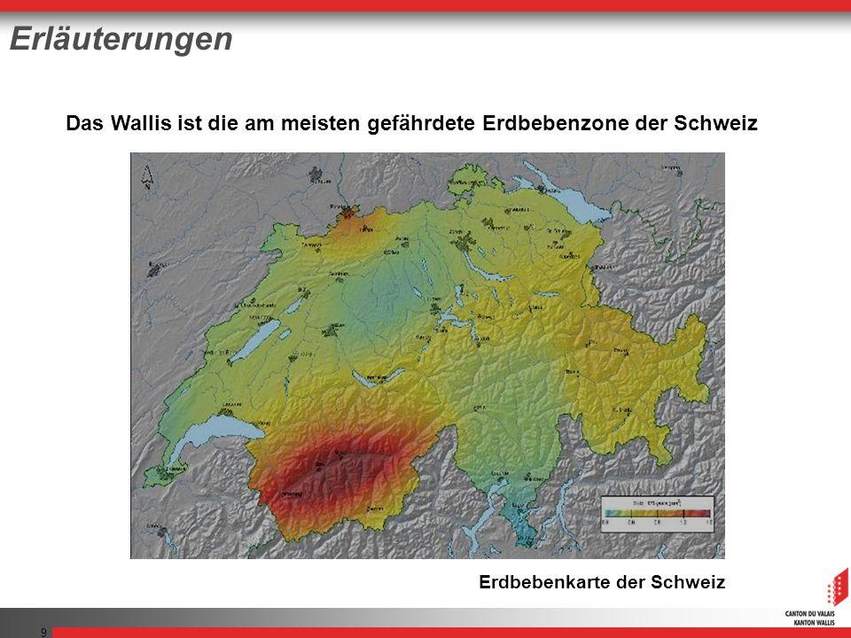 9 Das Wallis ist die am meisten gefährdete Erdbebenzone der Schweiz Erdbebenkarte der Schweiz Erläuterungen