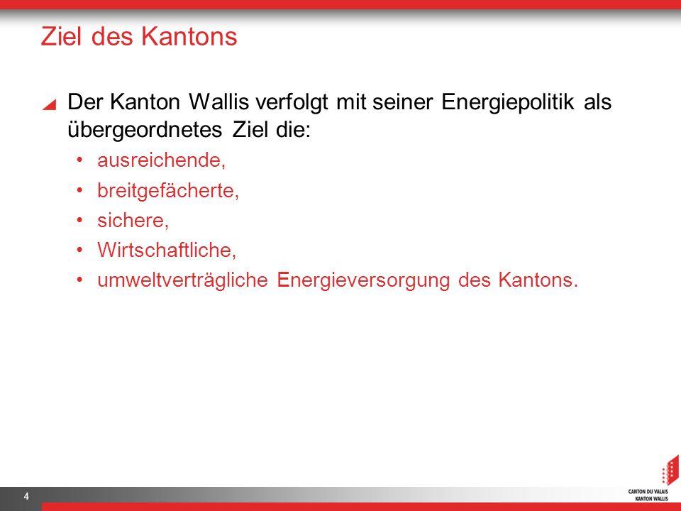 Ziel des Kantons Der Kanton Wallis verfolgt mit seiner Energiepolitik als übergeordnetes Ziel die: ausreichende, breitgefächerte, sichere, Wirtschaftliche, umweltverträgliche Energieversorgung des Kantons.