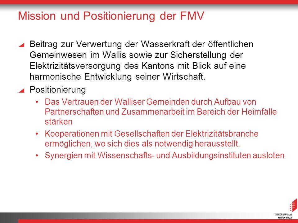 Mission und Positionierung der FMV Beitrag zur Verwertung der Wasserkraft der öffentlichen Gemeinwesen im Wallis sowie zur Sicherstellung der Elektrizitätsversorgung des Kantons mit Blick auf eine harmonische Entwicklung seiner Wirtschaft.