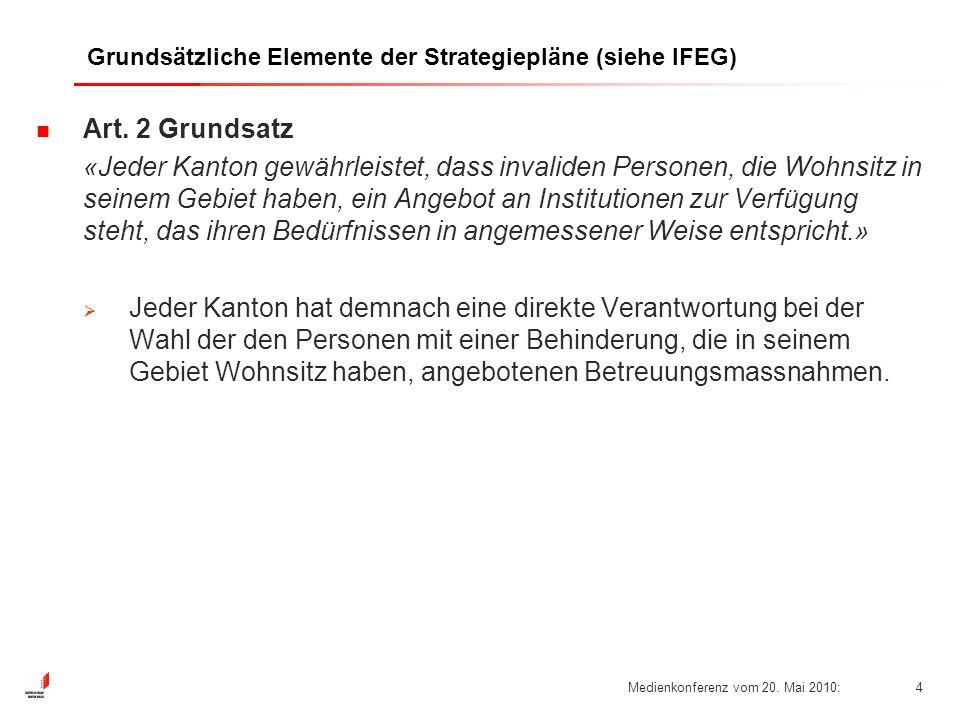Medienkonferenz vom 20. Mai 2010:4 Grundsätzliche Elemente der Strategiepläne (siehe IFEG) Art.