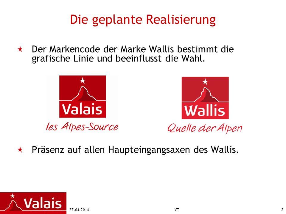 27.04.2014VT3 Die geplante Realisierung Der Markencode der Marke Wallis bestimmt die grafische Linie und beeinflusst die Wahl. Präsenz auf allen Haupt