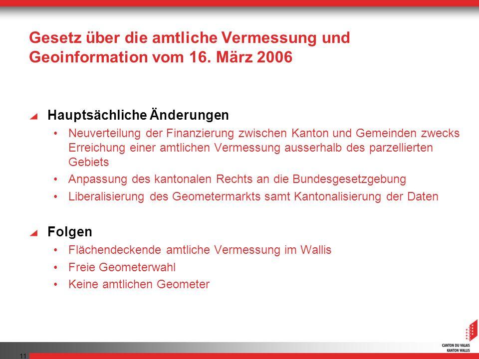 11 Gesetz über die amtliche Vermessung und Geoinformation vom 16. März 2006 Hauptsächliche Änderungen Neuverteilung der Finanzierung zwischen Kanton u