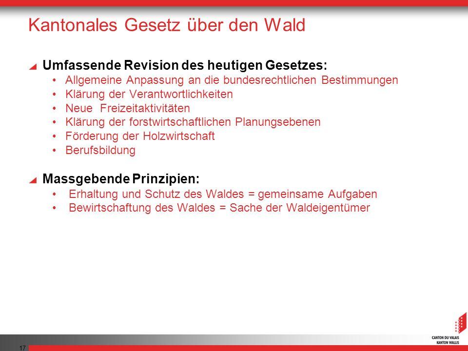 17 Kantonales Gesetz über den Wald Umfassende Revision des heutigen Gesetzes: Allgemeine Anpassung an die bundesrechtlichen Bestimmungen Klärung der V
