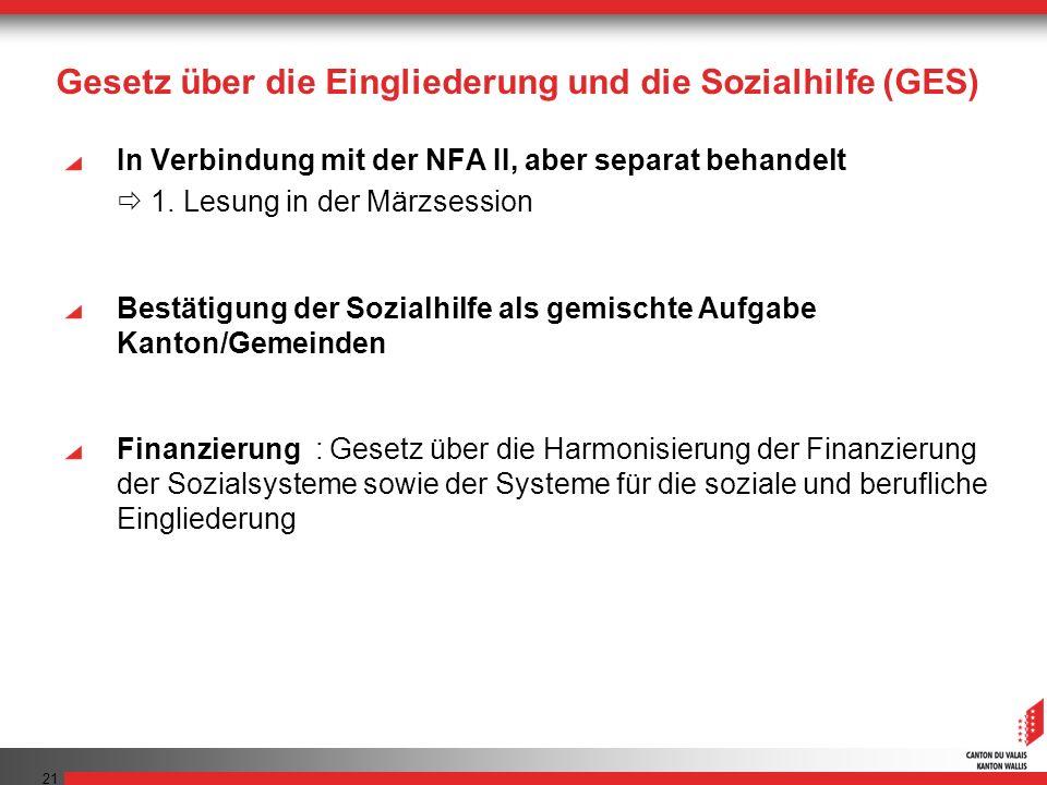 21 Gesetz über die Eingliederung und die Sozialhilfe (GES) In Verbindung mit der NFA II, aber separat behandelt 1. Lesung in der Märzsession Bestätigu