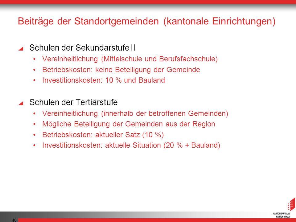 40 Beiträge der Standortgemeinden (kantonale Einrichtungen) Schulen der Sekundarstufe II Vereinheitlichung (Mittelschule und Berufsfachschule) Betrieb
