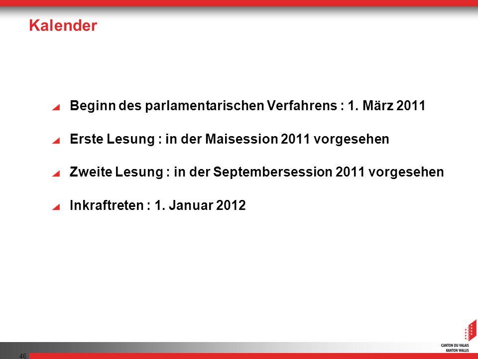 46 Kalender Beginn des parlamentarischen Verfahrens : 1. März 2011 Erste Lesung : in der Maisession 2011 vorgesehen Zweite Lesung : in der Septemberse