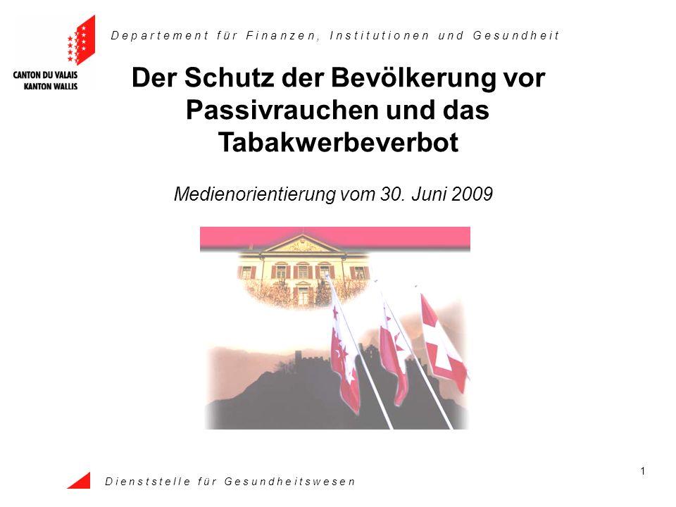 Dienststelle für Gesundheitswesen 12 Verordnung : Passivrauchen und Tabakwerbeverbot 1.Abschnitt: Allgemeine Bestimmungen Art.
