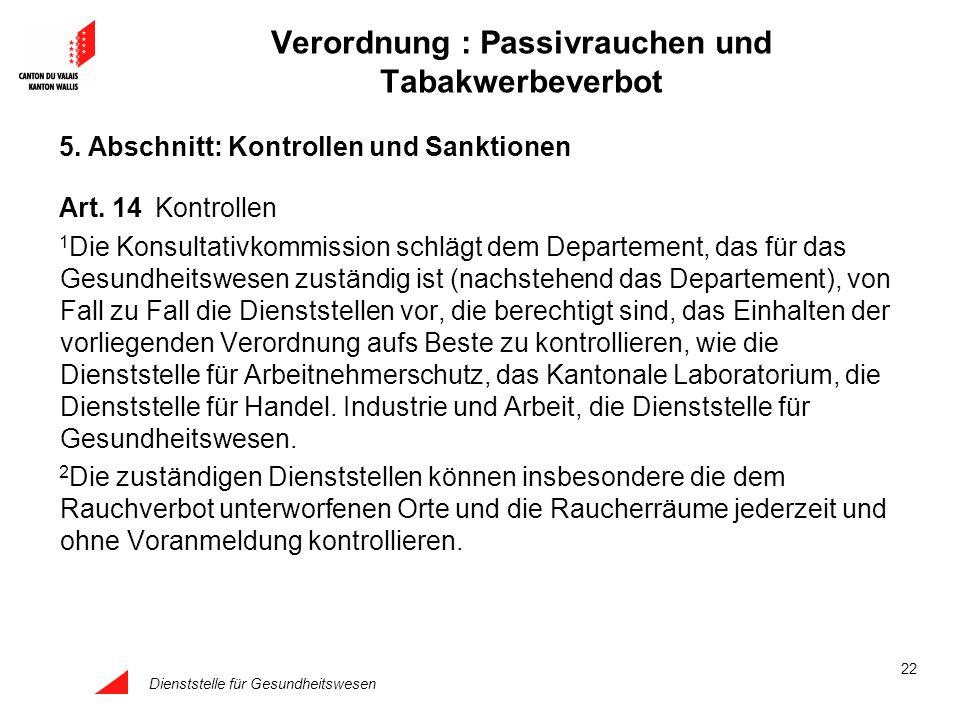 Dienststelle für Gesundheitswesen 22 Verordnung : Passivrauchen und Tabakwerbeverbot 5. Abschnitt: Kontrollen und Sanktionen Art. 14Kontrollen 1 Die K