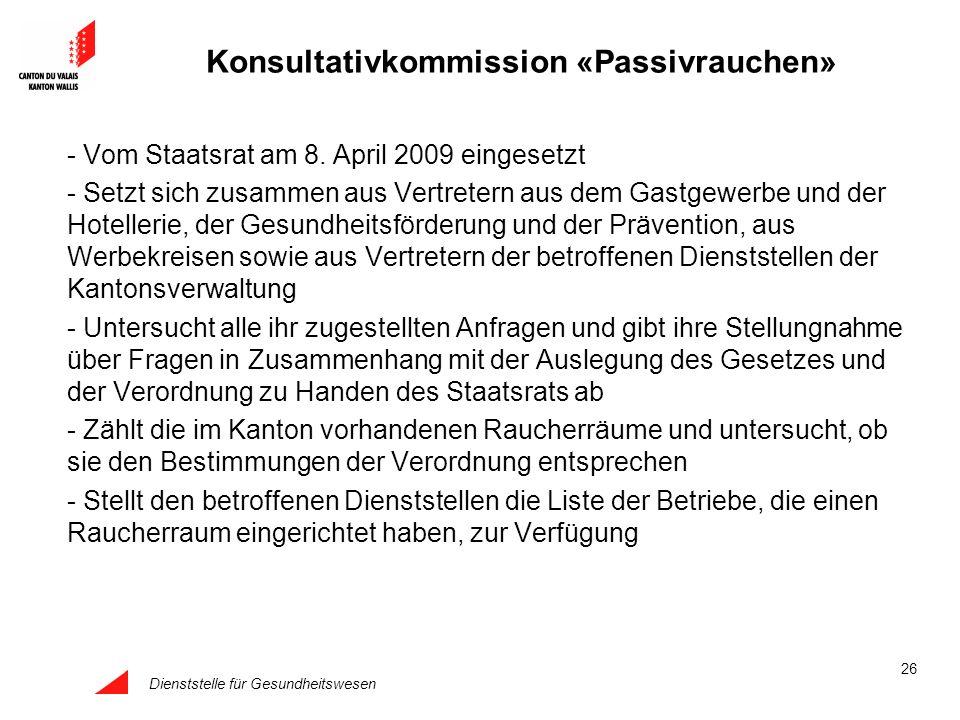 Dienststelle für Gesundheitswesen 26 Konsultativkommission «Passivrauchen» - Vom Staatsrat am 8. April 2009 eingesetzt - Setzt sich zusammen aus Vertr