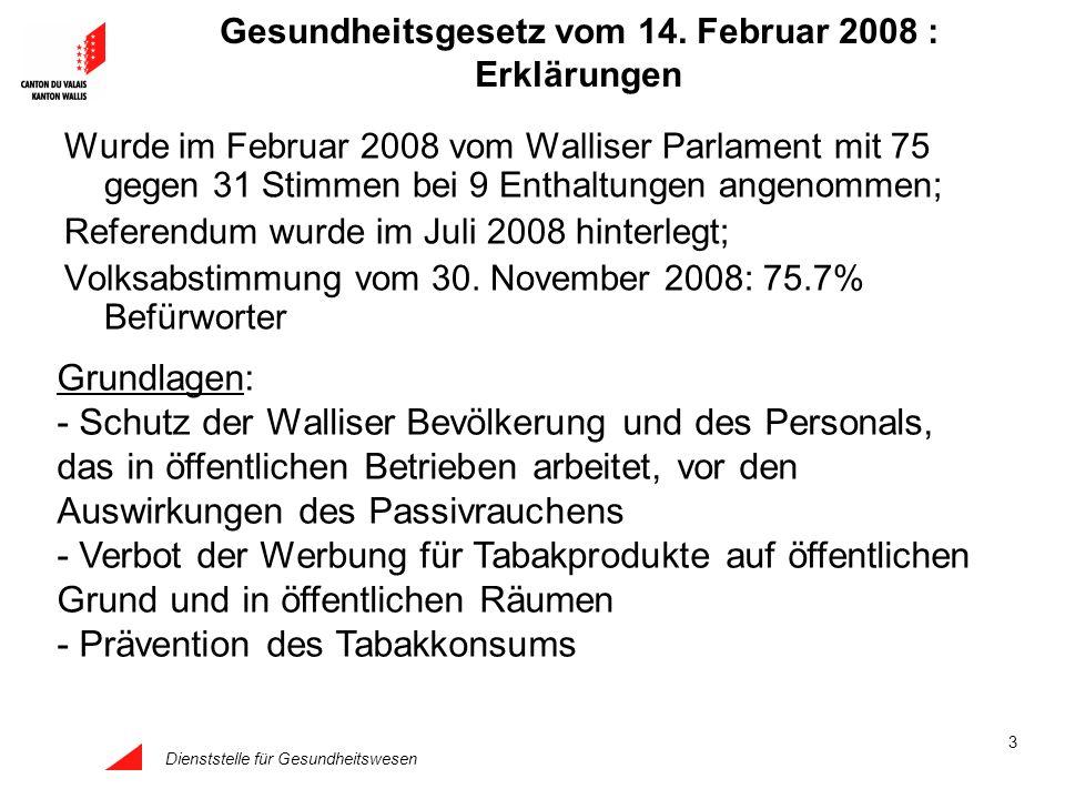 Dienststelle für Gesundheitswesen 3 Gesundheitsgesetz vom 14. Februar 2008 : Erklärungen Wurde im Februar 2008 vom Walliser Parlament mit 75 gegen 31