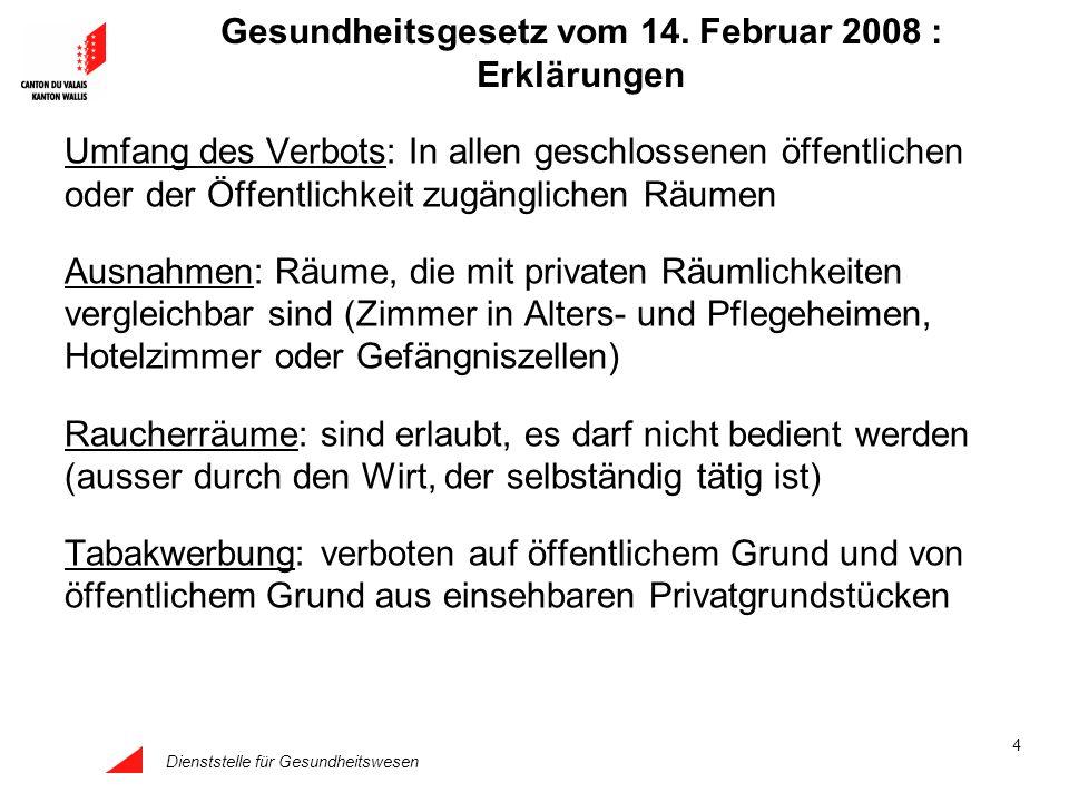 Dienststelle für Gesundheitswesen 4 Gesundheitsgesetz vom 14. Februar 2008 : Erklärungen Umfang des Verbots: In allen geschlossenen öffentlichen oder
