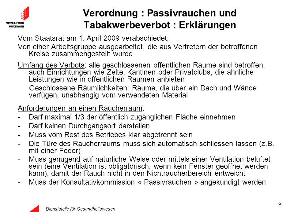Dienststelle für Gesundheitswesen 9 Verordnung : Passivrauchen und Tabakwerbeverbot : Erklärungen Vom Staatsrat am 1. April 2009 verabschiedet; Von ei