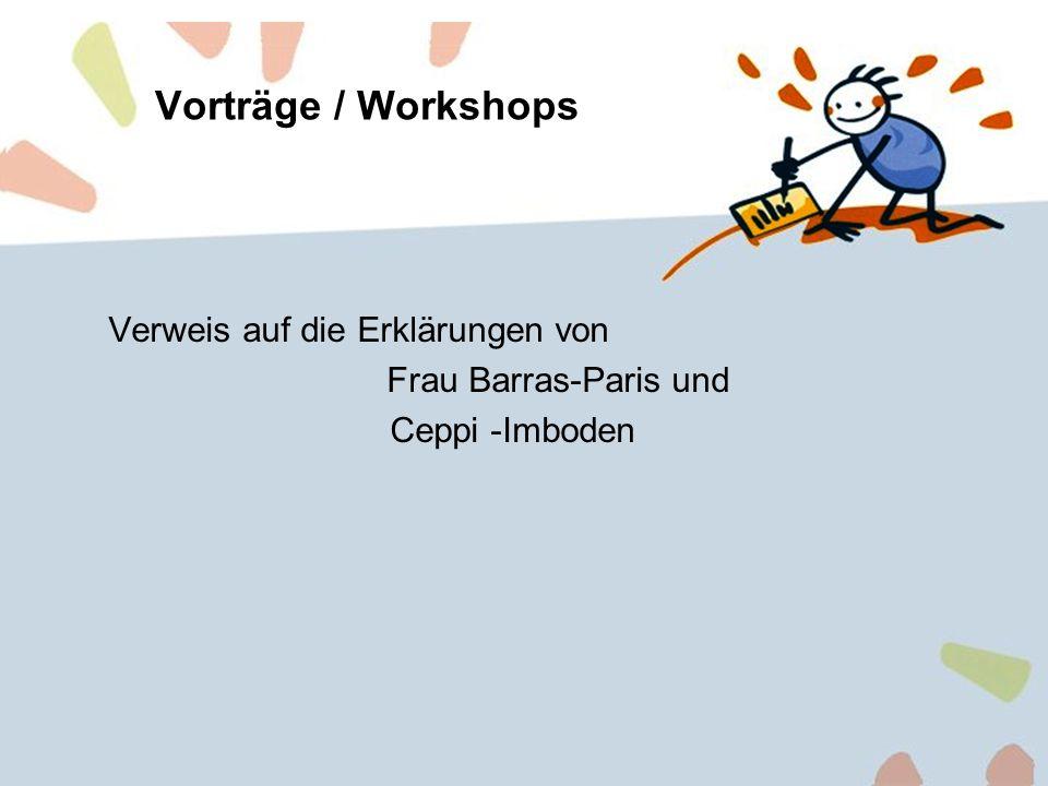 12 Vorträge / Workshops Verweis auf die Erklärungen von Frau Barras-Paris und Ceppi -Imboden