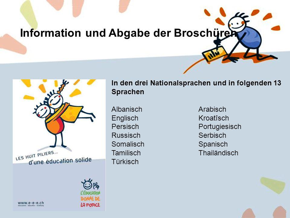 6 Information und Abgabe der Broschüren In den drei Nationalsprachen und in folgenden 13 Sprachen AlbanischArabisch EnglischKroatîsch PersischPortugie