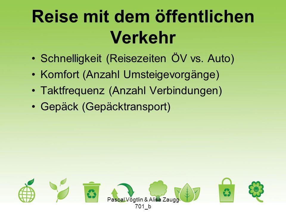 Reise mit dem öffentlichen Verkehr Schnelligkeit (Reisezeiten ÖV vs. Auto) Komfort (Anzahl Umsteigevorgänge) Taktfrequenz (Anzahl Verbindungen) Gepäck