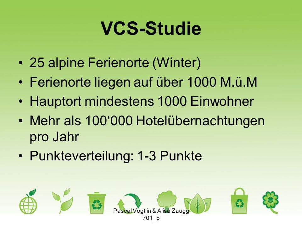 VCS-Studie 25 alpine Ferienorte (Winter) Ferienorte liegen auf über 1000 M.ü.M Hauptort mindestens 1000 Einwohner Mehr als 100000 Hotelübernachtungen