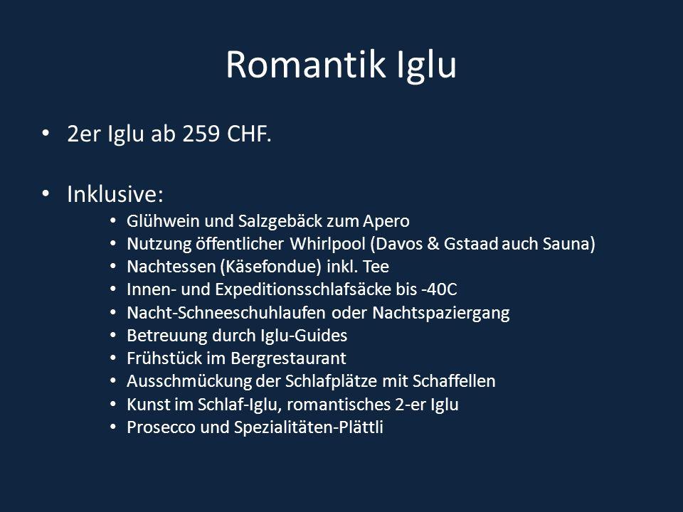 Romantik Iglu 2er Iglu ab 259 CHF. Inklusive: Glühwein und Salzgebäck zum Apero Nutzung öffentlicher Whirlpool (Davos & Gstaad auch Sauna) Nachtessen