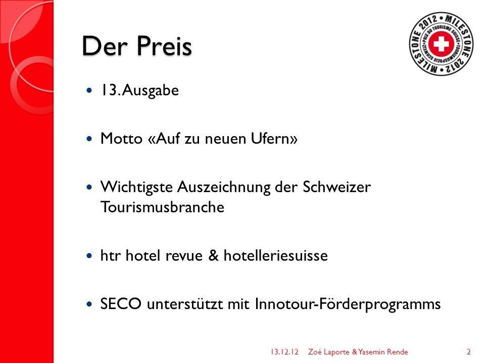 Der Preis 13. Ausgabe Motto «Auf zu neuen Ufern» Wichtigste Auszeichnung der Schweizer Tourismusbranche htr hotel revue & hotelleriesuisse SECO unters