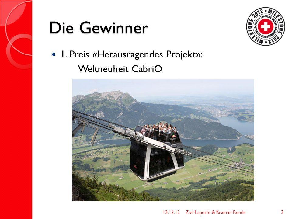 Die Gewinner 1. Preis «Herausragendes Projekt»: Weltneuheit CabriO 13.12.12Zoé Laporte & Yasemin Rende3