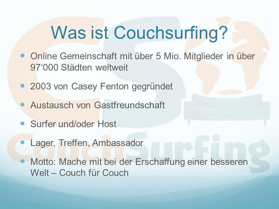 Was ist Couchsurfing. Online Gemeinschaft mit über 5 Mio.
