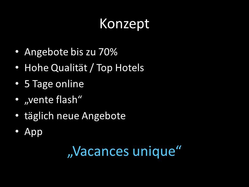 Konzept Angebote bis zu 70% Hohe Qualität / Top Hotels 5 Tage online vente flash täglich neue Angebote App Vacances unique