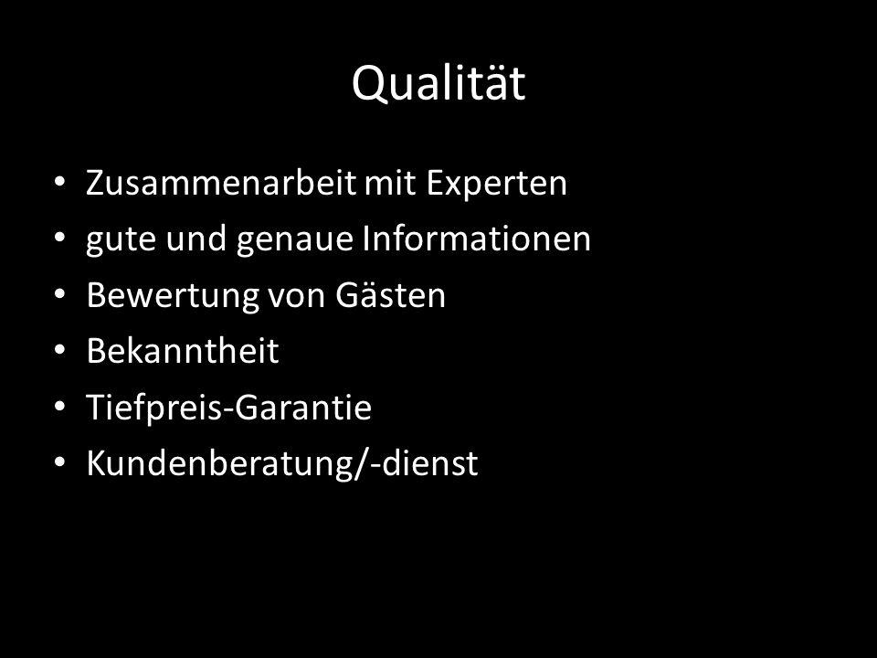 Qualität Zusammenarbeit mit Experten gute und genaue Informationen Bewertung von Gästen Bekanntheit Tiefpreis-Garantie Kundenberatung/-dienst