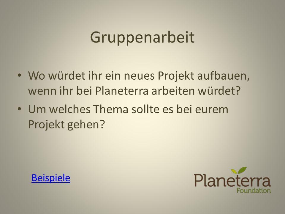 Gruppenarbeit Wo würdet ihr ein neues Projekt aufbauen, wenn ihr bei Planeterra arbeiten würdet? Um welches Thema sollte es bei eurem Projekt gehen? B