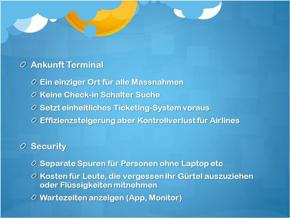 Ankunft Terminal Ein einziger Ort für alle Massnahmen Keine Check-in Schalter Suche Setzt einheitliches Ticketing-System voraus Effizienzsteigerung ab