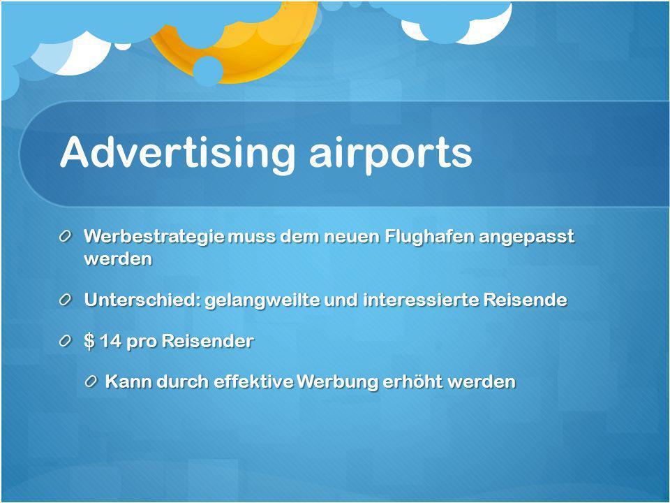 Advertising airports Werbestrategie muss dem neuen Flughafen angepasst werden Unterschied: gelangweilte und interessierte Reisende $ 14 pro Reisender