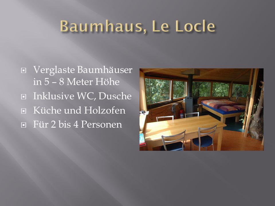 Verglaste Baumhäuser in 5 – 8 Meter Höhe Inklusive WC, Dusche Küche und Holzofen Für 2 bis 4 Personen