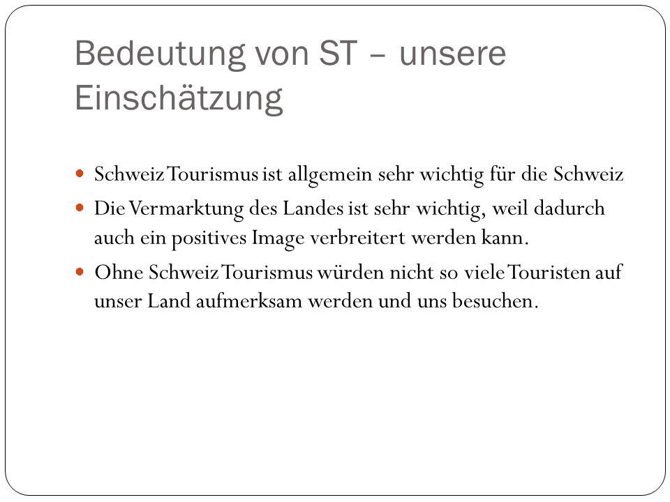 Bedeutung von ST – unsere Einschätzung Schweiz Tourismus ist allgemein sehr wichtig für die Schweiz Die Vermarktung des Landes ist sehr wichtig, weil
