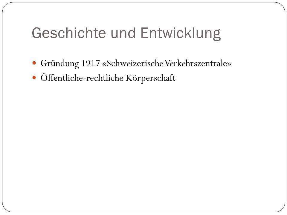 Geschichte und Entwicklung Gründung 1917 «Schweizerische Verkehrszentrale» Öffentliche-rechtliche Körperschaft