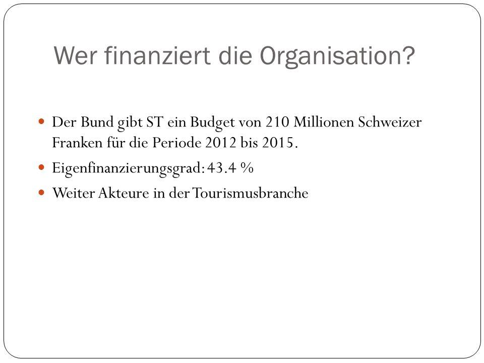 Wer finanziert die Organisation? Der Bund gibt ST ein Budget von 210 Millionen Schweizer Franken für die Periode 2012 bis 2015. Eigenfinanzierungsgrad