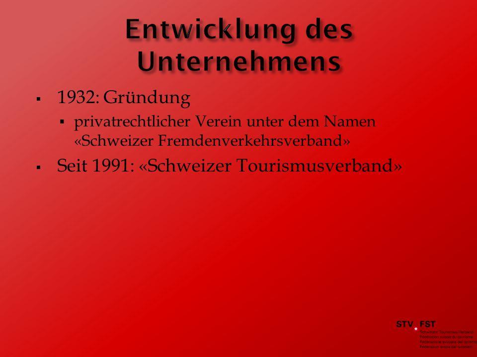 1932: Gründung privatrechtlicher Verein unter dem Namen «Schweizer Fremdenverkehrsverband» Seit 1991: «Schweizer Tourismusverband»