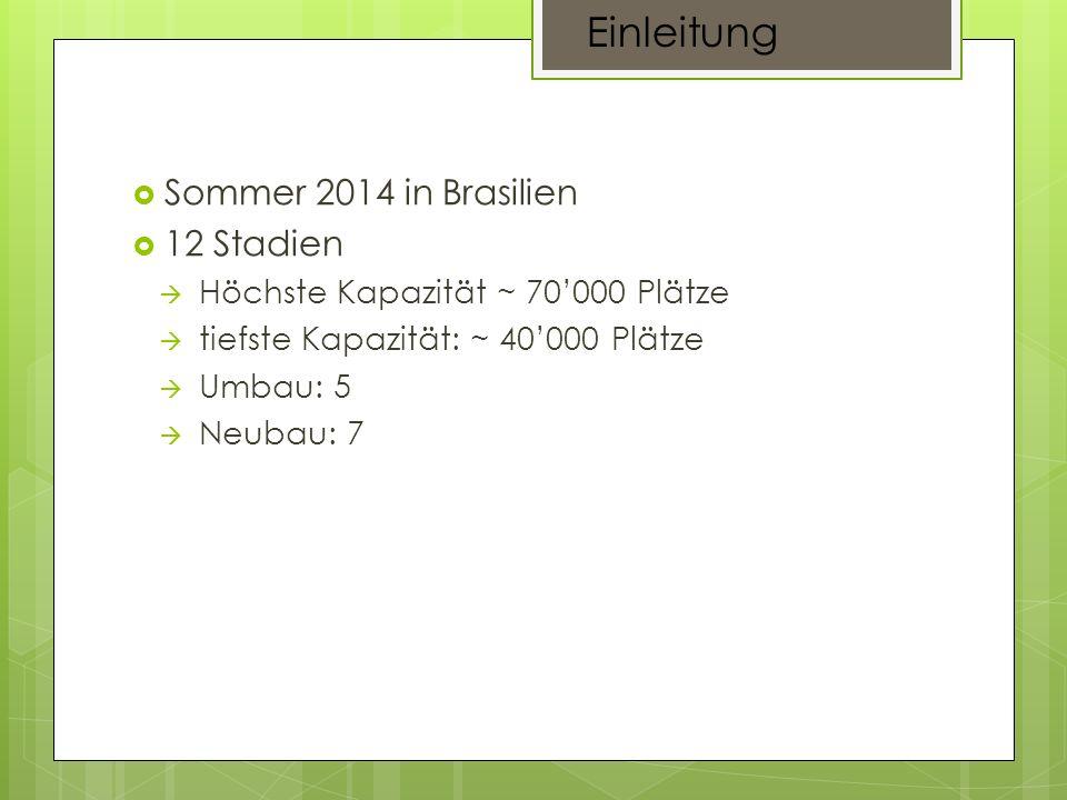 Sommer 2014 in Brasilien 12 Stadien Höchste Kapazität ~ 70000 Plätze tiefste Kapazität: ~ 40000 Plätze Umbau: 5 Neubau: 7 Einleitung