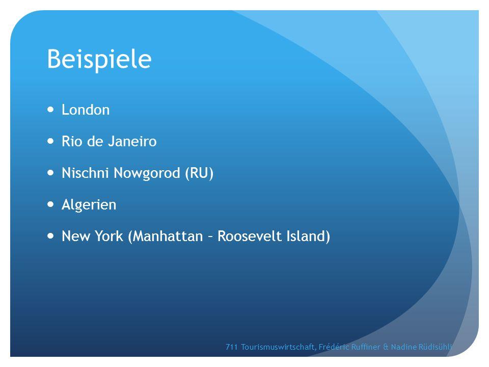 Beispiele London Rio de Janeiro Nischni Nowgorod (RU) Algerien New York (Manhattan – Roosevelt Island) 711 Tourismuswirtschaft, Frédéric Ruffiner & Nadine Rüdisühli