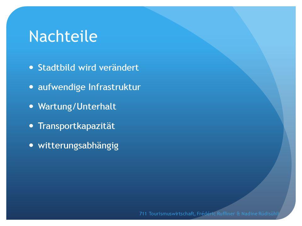 Nachteile Stadtbild wird verändert aufwendige Infrastruktur Wartung/Unterhalt Transportkapazität witterungsabhängig 711 Tourismuswirtschaft, Frédéric Ruffiner & Nadine Rüdisühli