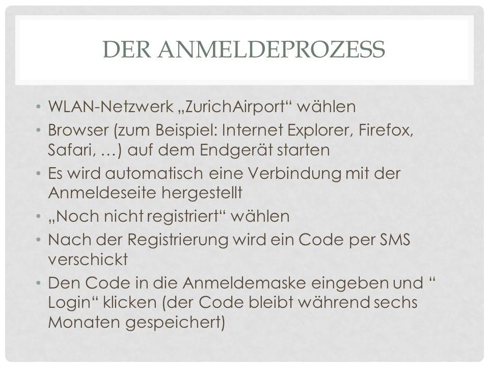 DER ANMELDEPROZESS WLAN-Netzwerk ZurichAirport wählen Browser (zum Beispiel: Internet Explorer, Firefox, Safari, …) auf dem Endgerät starten Es wird a