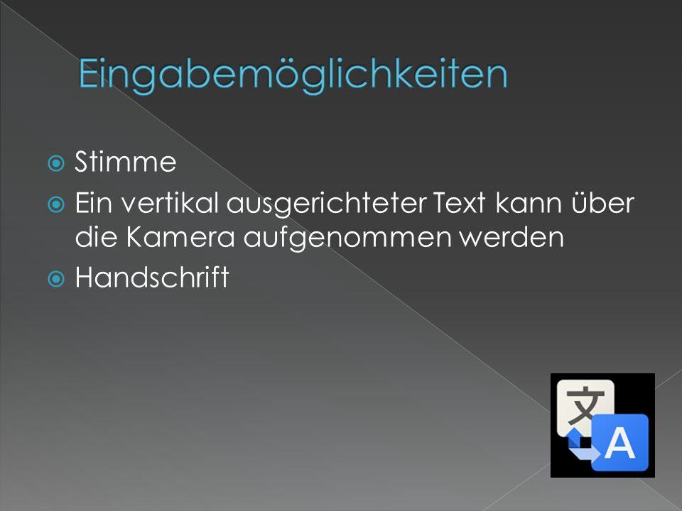 Stimme Ein vertikal ausgerichteter Text kann über die Kamera aufgenommen werden Handschrift