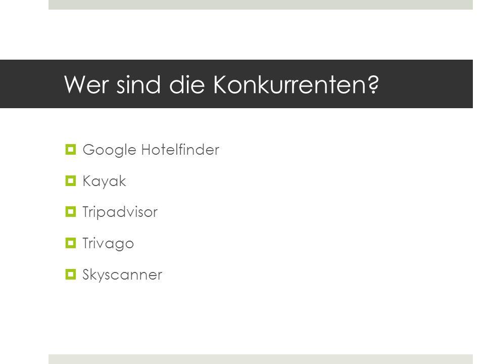 Wer sind die Konkurrenten? Google Hotelfinder Kayak Tripadvisor Trivago Skyscanner