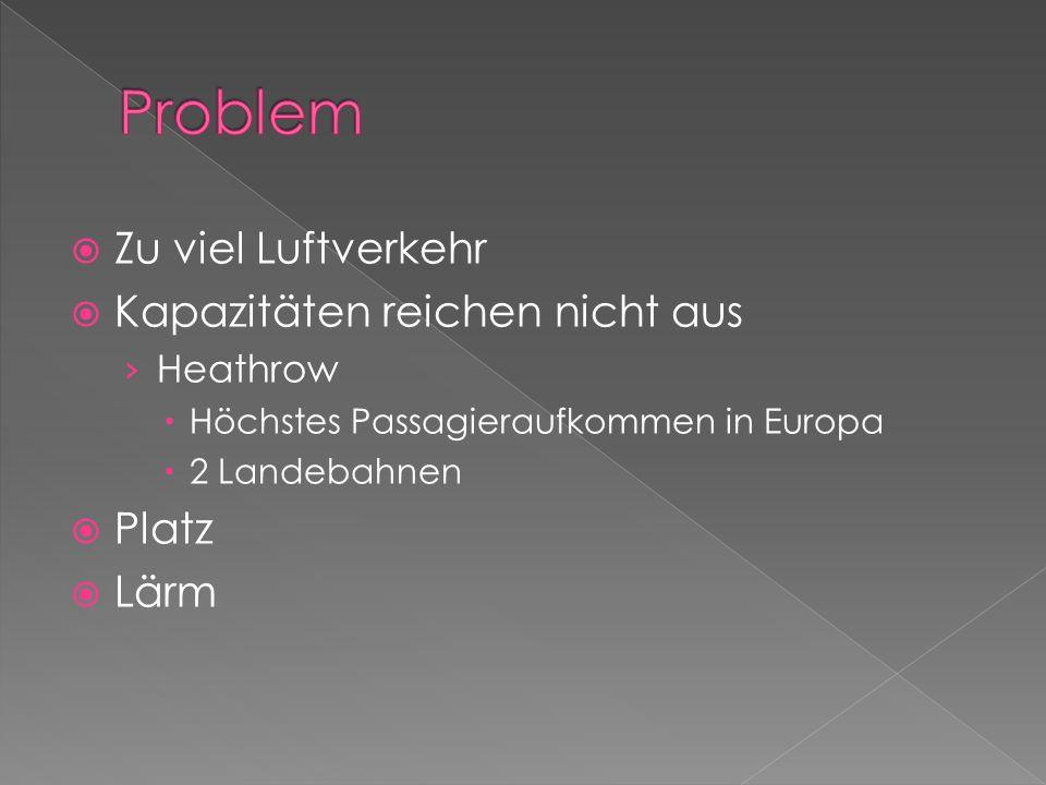 Zu viel Luftverkehr Kapazitäten reichen nicht aus Heathrow Höchstes Passagieraufkommen in Europa 2 Landebahnen Platz Lärm