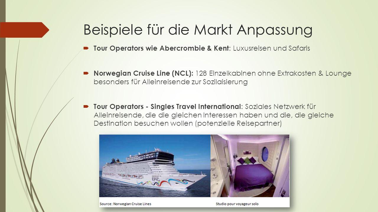 Beispiele für die Markt Anpassung Tour Operators wie Abercrombie & Kent : Luxusreisen und Safaris Norwegian Cruise Line (NCL): 128 Einzelkabinen ohne