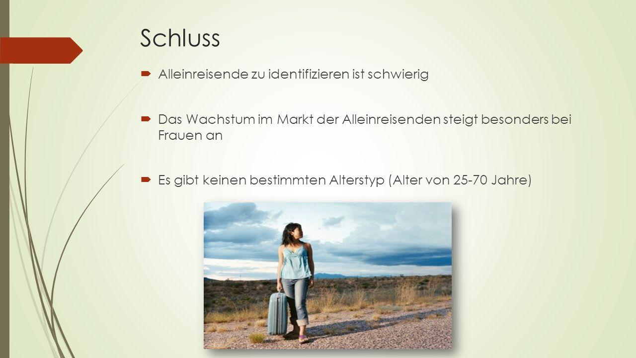 Schluss Alleinreisende zu identifizieren ist schwierig Das Wachstum im Markt der Alleinreisenden steigt besonders bei Frauen an Es gibt keinen bestimmten Alterstyp (Alter von 25-70 Jahre)