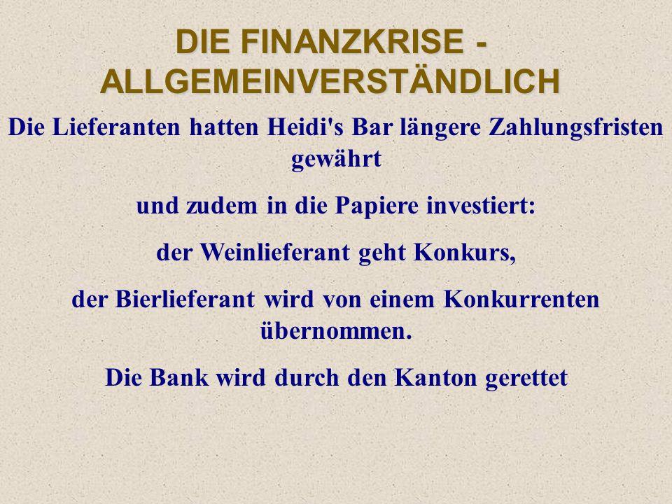 DIE FINANZKRISE - ALLGEMEINVERSTÄNDLICH Die können aber nicht zahlen. Heidi kann ihren Kreditverpflichtungen nicht nachkommen und macht Konkurs. SUFFB