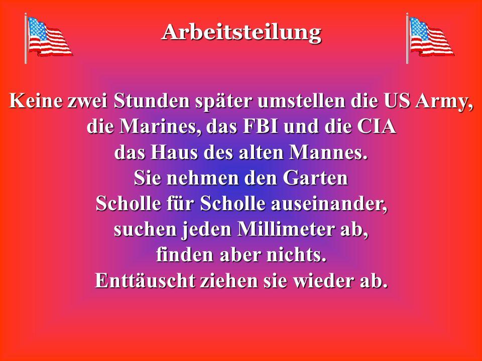 Arbeitsteilung Keine zwei Stunden später umstellen die US Army, die Marines, das FBI und die CIA das Haus des alten Mannes.