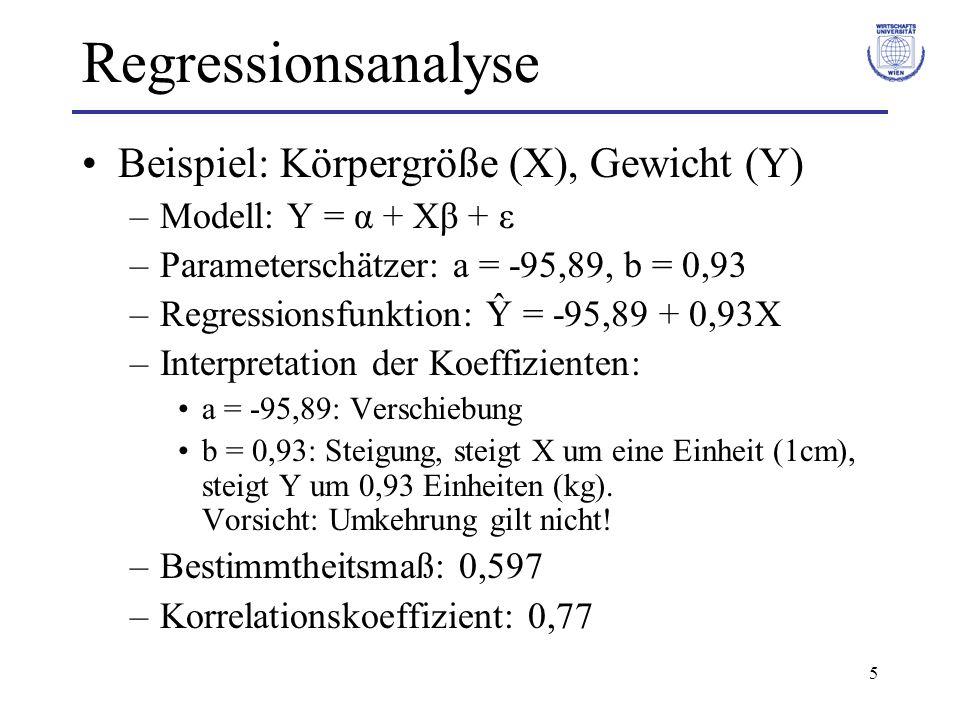 6 Regressionsanalyse Beispiel: Körpergröße (X), Gewicht (Y) –Koeffiziententests (t-Tests): –H 0 : α = 0 ablehnen (p-Wert α 0 –H 0 : β = 0 ablehnen (p-Wert β 0 –F-Test: H 0 ablehnen (Prüfgröße > kritischer Wert) => Zusammenhang zw.