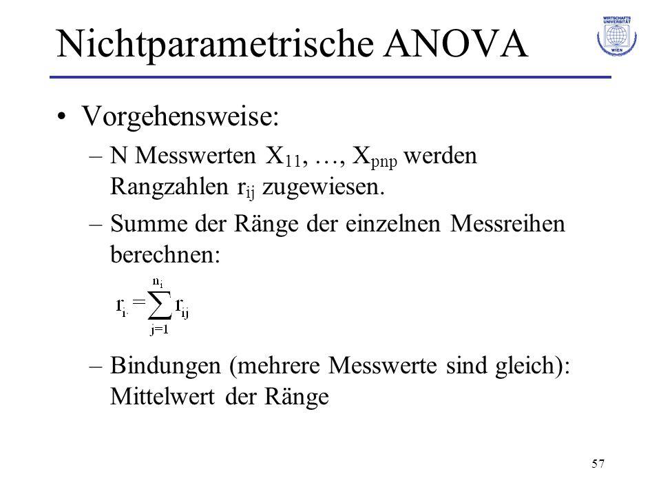 57 Nichtparametrische ANOVA Vorgehensweise: –N Messwerten X 11, …, X pnp werden Rangzahlen r ij zugewiesen. –Summe der Ränge der einzelnen Messreihen